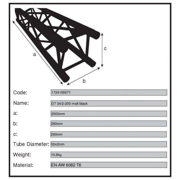 Duratruss traverz elem DT 34/2-200 matt fekete